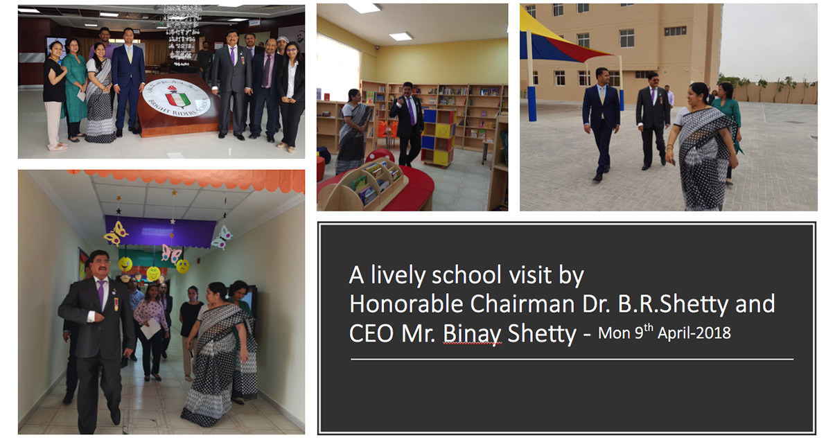 A lively school visit by Honorable Chairman Dr. B.R.Shetty and CEO Mr. Binay Shetty